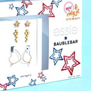 NWT BaubleBar Earring Trio Set Heart Hoops Studs